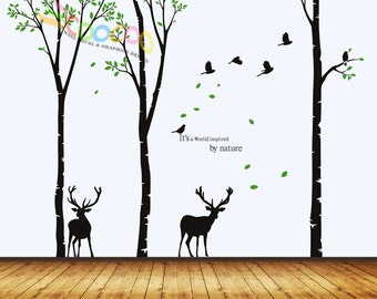 Wall Decal, wall Stickers ,Tree Wall Decals ,Wall decals, Nursery wall decal,Children wall decals, Removable, 3 trees, Birds and 2 deer