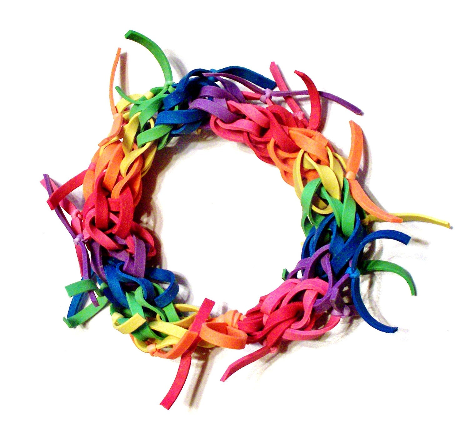 rainbow rubber band bracelet frayed support by bunglebands
