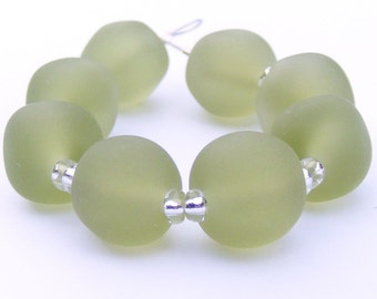 Handmade lampwork bead set  (8) faux antique seaglass pastel sage green beads