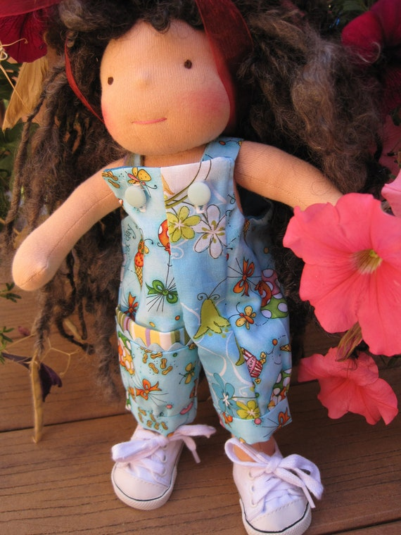 "Waldorf doll clothes for small 9-12"" doll....overalls with large pocket"