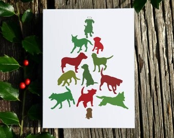 Labrador Retriever  Dog Christmas Tree Card