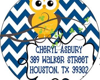 Return Address Labels Owl Return Address Labels Personalized Return Address Round Address Labels Custom Address Labels Owl
