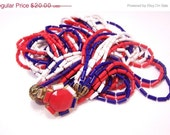 Vintage Red, White and Blue Plastic Bead Necklace N3706