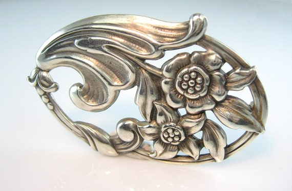Norseland / Coro Sterling Flower Pin Sculpted Silver Scandinavian Style Vintage 1940s Jewelry
