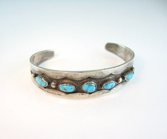 Vintage Navajo Turquoise Silver Cuff Bracelet 1970s Native American Jewelry