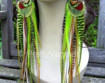 Big Feather Earrings Green Goddess, Thick Extra Long Feather Earrings 13 inch Summer Statement Real Feather Jewelry