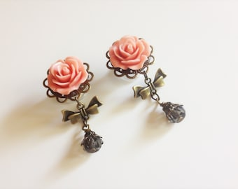 """9/16"""" 14mm Dangle Plugs, 23 Colors Rose Plugs with Bows and Beads 12mm 1/2 inch Plugs, 7/16 11mm 000g Dangle Gauges, Body Jewelry"""