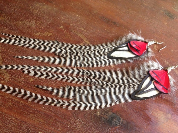 Long Feather Earrings Grizzly Red Wings, Black and White Zig Zag Striped Dangle Feather Earings
