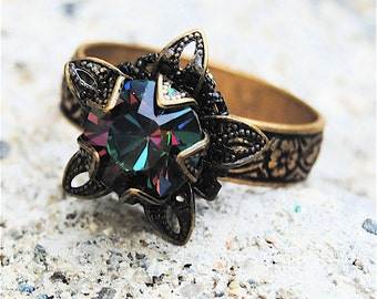 Dark Rainbow Swarovski Crystal Ring Victorian Stargazer Vintage Dark Rainbow Antiqued Brass Adjustable Ring Mashugana