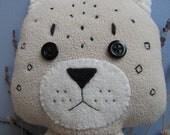 Snow Leopard, Hand-sewn, Eco-friendly, Cream and Black, Stuffed Animal Plush