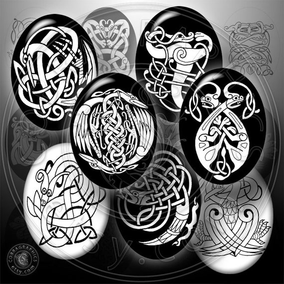 Celtic Designs - Printable Images - 30x40mm ovals - Digital Collage Sheet CG-573 - for Jewelry Making, Scrapbooking, Crafts
