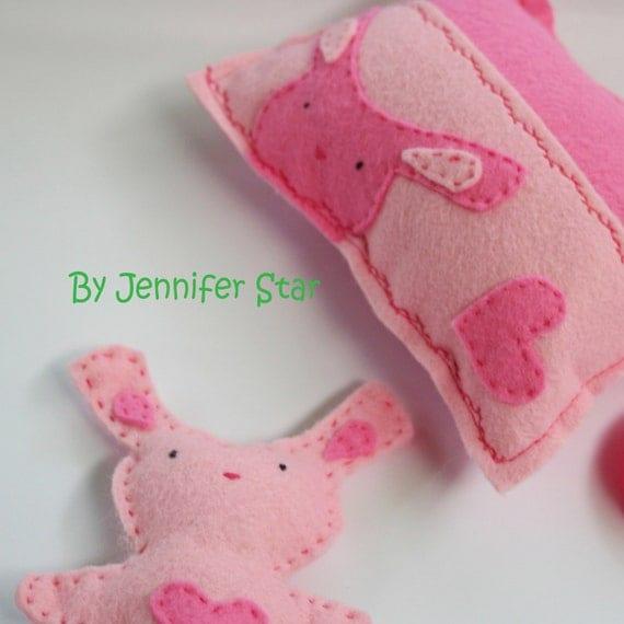 Bunny Set Tooth Fairy Pillow Set    - By Jennifer Star