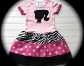 Custom Boutique Silhouette Dress Girls Dresses Baby Dress Birthday Dress  Available in 6-12 months through Size 6/8