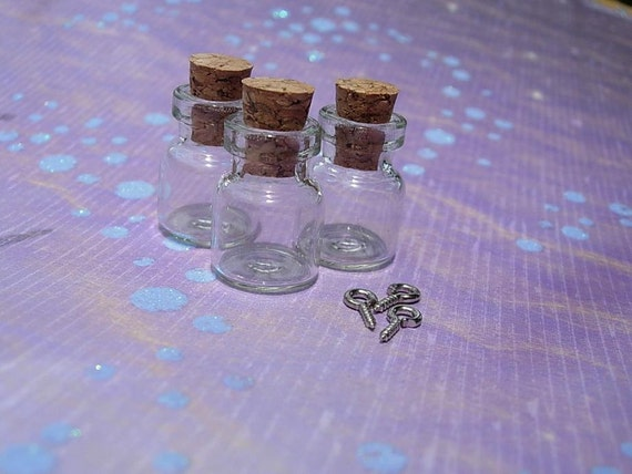 3 Mini Jug Jar Glass Bottles w Eyelets for Hanging -  D.I.Y. Jewelry Making Magic Inspired