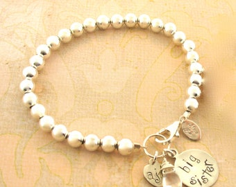 Big Sister silver style Initial bracelet with Gemstone, gift for new sister, big sister gift, big sis, new baby