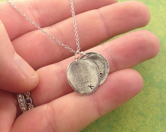 Fingerprints, two children's fingerprints, special gift for mom, fingerprint jewelry, thumbprint
