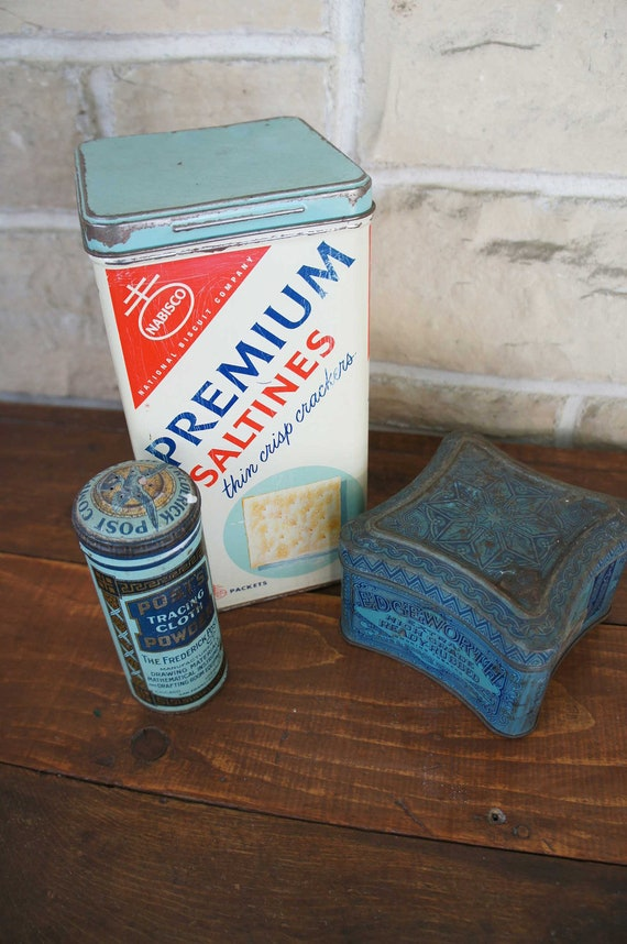 Reserved for Lauren Vintage Advertising Tin Instant Blue Collection Saltine Tin Tobacco Tin Drafting Powder Tin