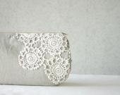 Linen and Vintage Doily piece Clutch Purse