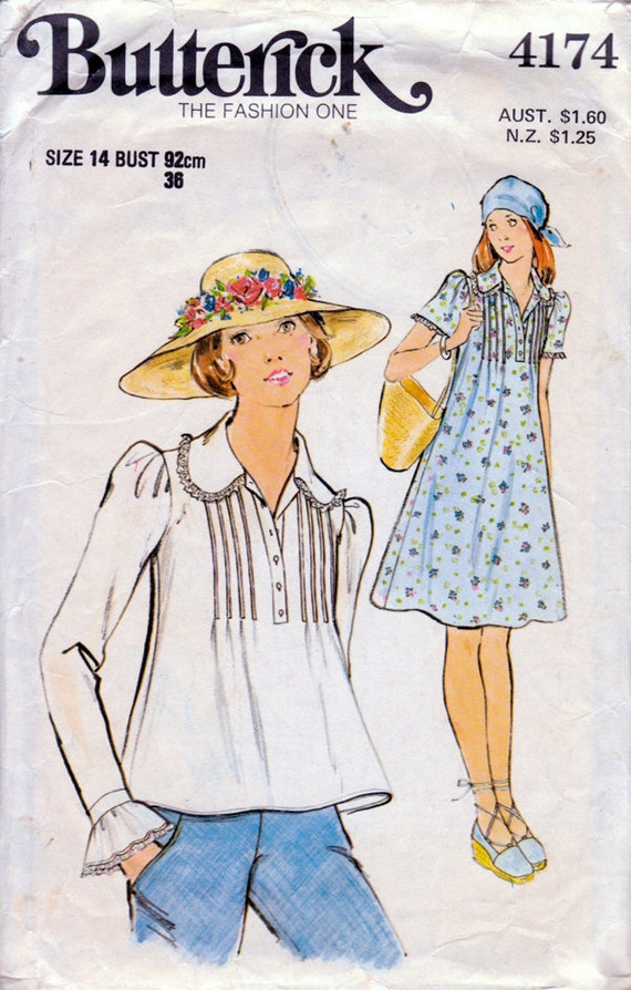 1970s Boho Tucked Dress & Top Vintage Sewing Pattern - Butterick 4174 Size 14 Bust 36