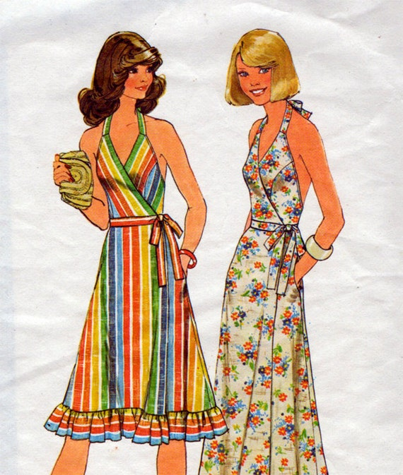 1970s Halter Wrap Dress In 2 Lengths Vintage Sewing Pattern - Simplicity 7484 Bust 31 1/2 - 32 1/2