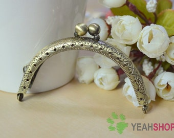 Antique Brass Embossed Purse Frame - Half Round Double Beads - 8.5cm / 3.3 inch (PF85-44)