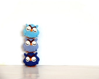 Sleepy owl stuffed animals owl home decor toys set of 3