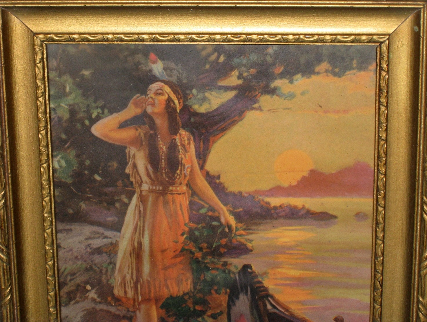Rare 1920s Minnehaha Indian Maiden Print Hy By