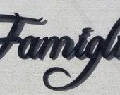Famiglia Word  Italian Word For Family Metal Wall Art Home Decor