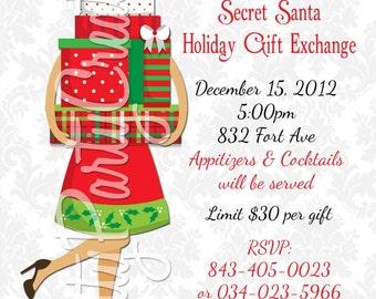 secret santa holiday gift exchange invitation you print. Black Bedroom Furniture Sets. Home Design Ideas