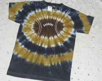 Tie dye FOOTBALL shirts: Youth Medium and Youth Large --  ready for shipment today  -   vegas gold and black football