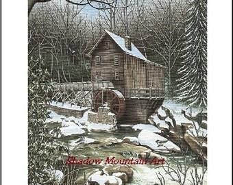 art print Mill winter