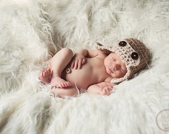 Aviator Hat Baby Hat, Crochet Baby Boy Hat, Taupe and Oatmeal