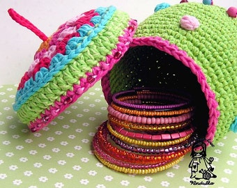 Colorful basket / container - digital crochet pattern, DIY, PDF