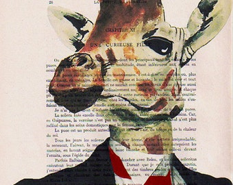 Giraffe businessman- ORIGINAL ARTWORK Hand Painted Mixed Media on 1920 Parisien Magazine 'La Petit Illustration' xyz