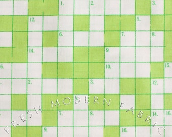 Half Yard Bungle Jungle Crossword Puzzle in Lime Green, Tim and Beck for Moda Fabrics, 100% Cotton Fabric