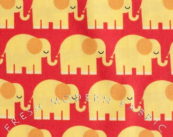 Half Yard Bungle Jungle Elephants in Red and Yellow, Tim and Beck for Moda Fabrics, 100% Cotton Fabric