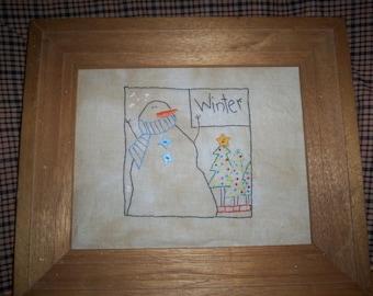 Primitive stitchery - Winter