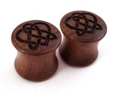"Celtic Heart Walnut Wooden Plugs 2g (6mm) through 1 3/4"" (44mm) including 0g (8mm) 00g (9mm) (10mm) 7/16"" 1/2"" 9/16"" 5/8"" 3/4"" ear gauges"