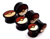 "Tri-Color Wood Inlay in Ebony Wooden Plugs - 00g (10mm) 7/16"" (11mm) 1/2"" (13mm) 9/16"" (14mm) Organic Wood Ear Gauges"
