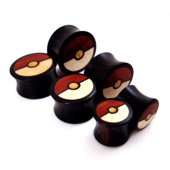 "Tri-Color Wood Inlay in Ebony Wooden Plugs - 0g (8mm) 00g (10mm) 7/16"" (11mm) 1/2"" (13mm) 9/16"" (14mm) Organic Wood Ear Gauges"