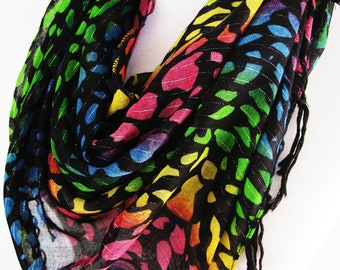 Colorful Cotton Triangle Scarf, Headband, Necklace, Gift, Woman, Fashion
