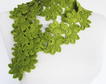 Queen Anne Crocheted Scarf, Lime Green, Fashion,  Gift