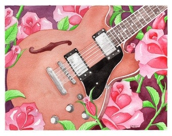 Guitar & Roses Watercolor - Print of original painting - Gift for Music Lover
