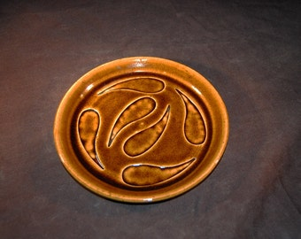 Small Brown Yin Yang Wheel Thrown Lunch Plate Ceramic Pottery