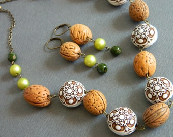 Fall Necklace, Walnut Necklace, Statement Necklace, Woodland, Chartreuse Green, Earthy Necklace, Bohemian, Eclectic Jewelry