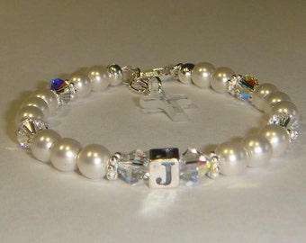 Baby/Toddler/Girl's Birthstone Initial Bracelet - Swarovski Pearls & Crystals - Sterling Silver - Personalized - Charm Choice