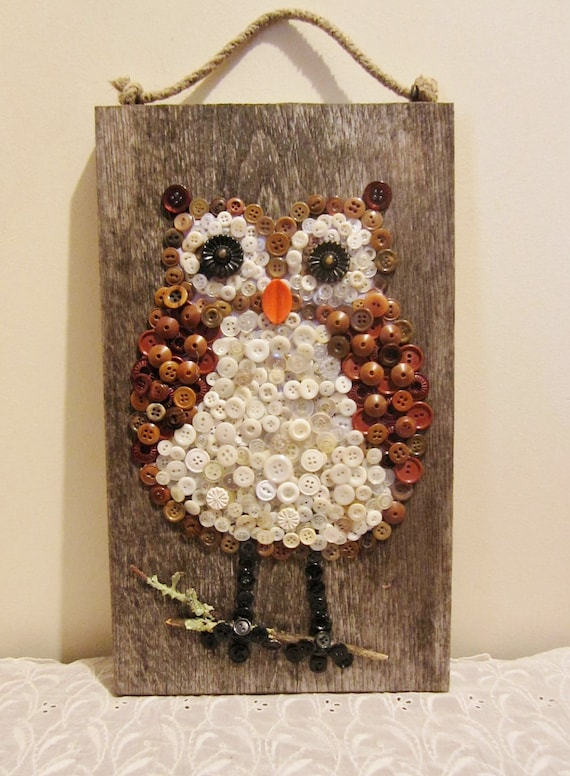 Large Owl Wall Hanging On Barn Board Made Of Buttons