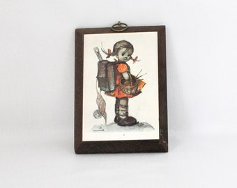 Vintage Hummel Wall Plaque - Girl with sewing basket and backpack - Wood