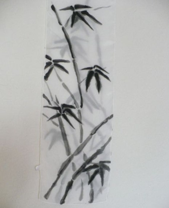 Black and White Silk Scarf hand painted sumi style bamboo