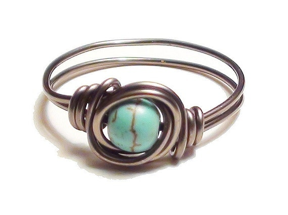 Turquoise and Gunmetal Wire Wrapped Ring Any Size